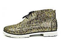 Золотистые женские осенние кожаные ботинки WRIGHT на байке