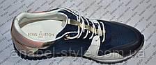 Кроссовки Женские Loui$ Vuitton (Виттон) синие с белыми вставками Код 1321, фото 2