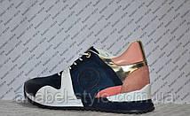 Кроссовки Женские Loui$ Vuitton (Виттон) синие с белыми вставками Код 1321, фото 3