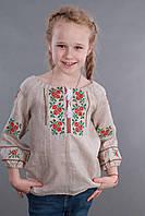 Вышиванка для девочки с бежевого льна, фото 1