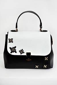 Женская сумка Valentino с клапаном черный+белый