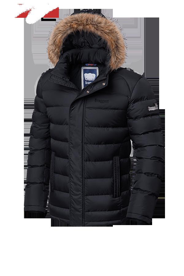 Мужская черная зимняя куртка с мехом Braggart (р. 46-56) арт. 3612