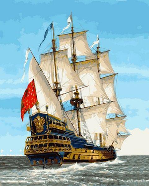 Картины по номерам на холсте 40×50 см. Линейный корабль Сирена Франция XVIII век