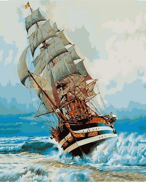 Раскраска по цифрам 40×50 см. Америго Веспуччи итальянское учебное парусное судно