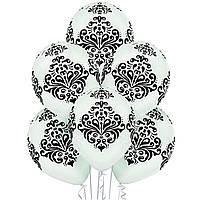"""12"""" (30 см) Дамаск белый пастель шелкография 1 шт. BELBAL Бельгия 2 стор."""