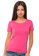 Розовая футболка женская без рисунка яркая спортивная летняя с коротким рукавом хлопок стрейч (Украина)