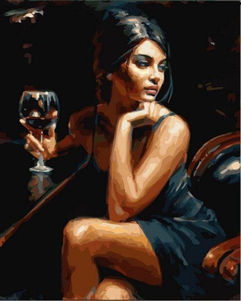 Раскраски по номерам 40×50 см. Саба с бокалом красного вина Художник Фабиан Перез
