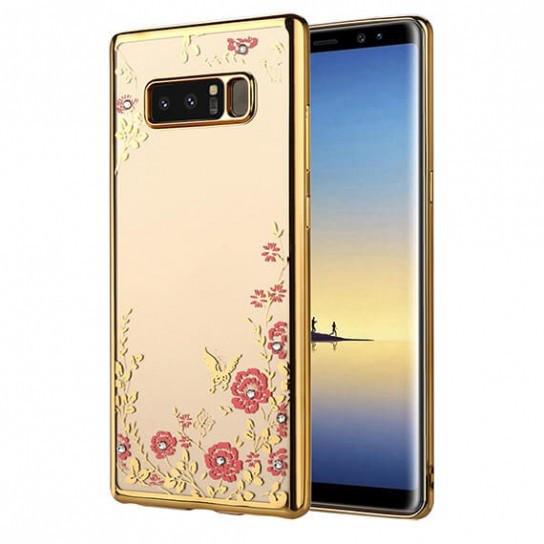 Прозрачный чехол с цветами и стразами для Samsung Galaxy Note 8 с глян