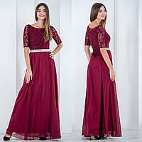 """Вечернее красивое бордовое платье в пол батал """"Невада"""""""