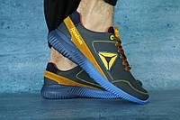 Мужские кожаные кроссовки Reebok Синий\Рыжий 10638