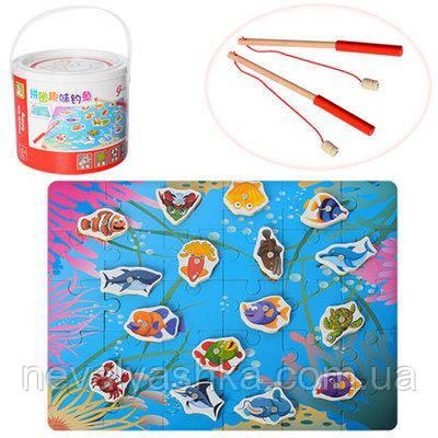 Деревянная игрушка Магнитная Рыбалка в ведре Поле- Пазл Удочки, MD 1036, 003680