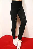 Рваные черные лосины для девочек от 9 до 14 лет. Фирма-Niebieski Польша.
