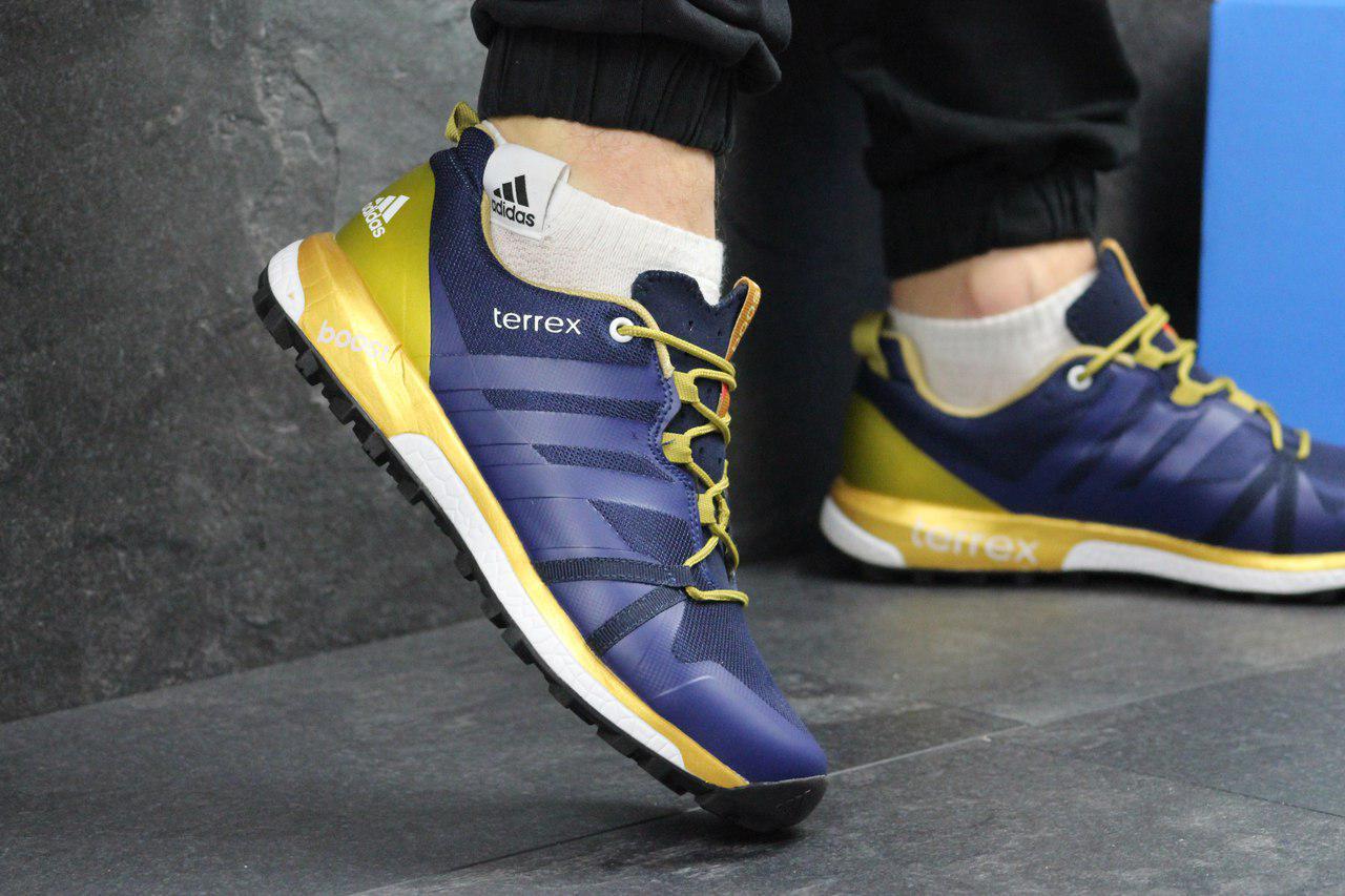 Мужские кроссовки Adidas Terrex Boost (реплика) пресскожа+сетка, синие с  золотом 6a6cb1ab304