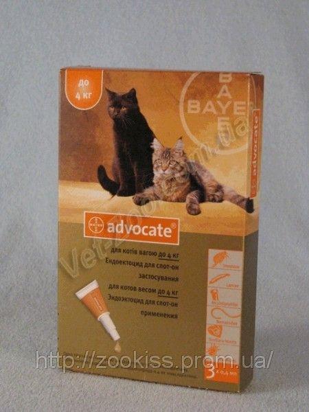 АДВОКАТ — для котов до 4кг (уп. 3 пип, цена за 1 шт) Байер, Германия.