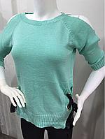 Свитер женский с голыми плечами зеленый