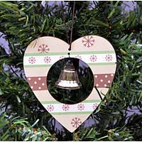 """Подвескана елку """"Сердце с колокольчиком"""" KSN197, 10.5*20 см, дерево, Новогодние сувениры, Украшения новогодние, Игрушки на елку"""