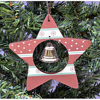 """Подвеска на елку """"Звезда с колокольчиком"""" KSN199, 10.5*20 см, дерево, коричневый, Новогодние сувениры, Украшения новогодние, Игрушки на елку"""
