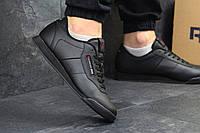 Кроссовки мужские Reebok: модные кожаные осенние, весенние, повседневные фирменные Рибок, черные, ТОП-реплика