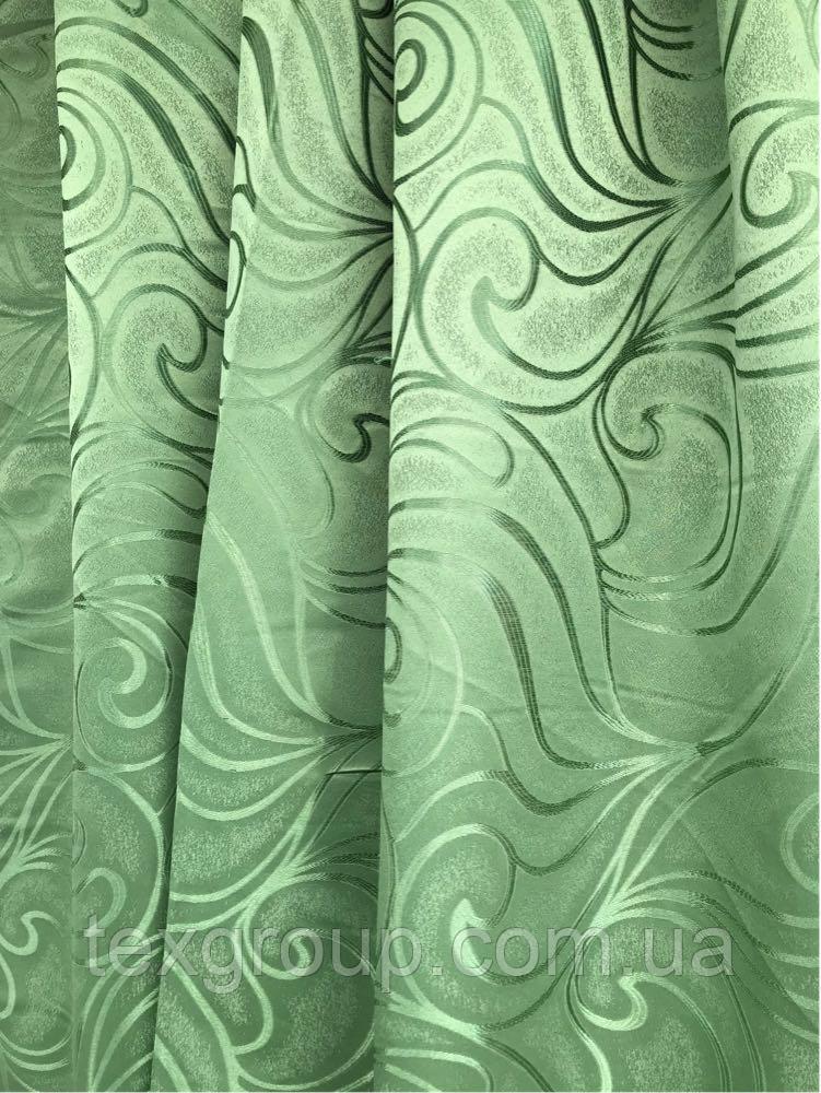Шторы оптом 1.5м зелёный В-20