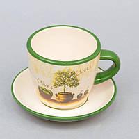 """Чашка керамическая для напитков """"Olives"""" ZL311, размер 7х10 см, с блюдцем, чашка для чая, посуда для чая, чашка для кофе"""