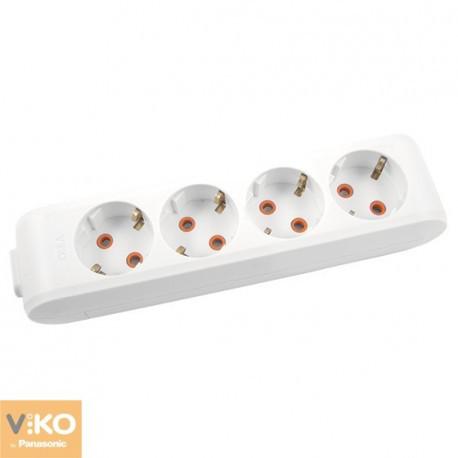 Колодка 4 гнезда с заземлением Multilet Viko белий