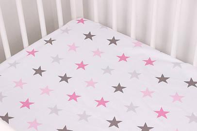 Простынь на резинке крупные розово серые звезды