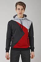 Мужская спортивная кофта абстракция красный с серым