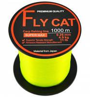 Леска NTEC Fly Cat Fluro Yellow 1000м, Ø0.28мм, 12lb/5.45кг