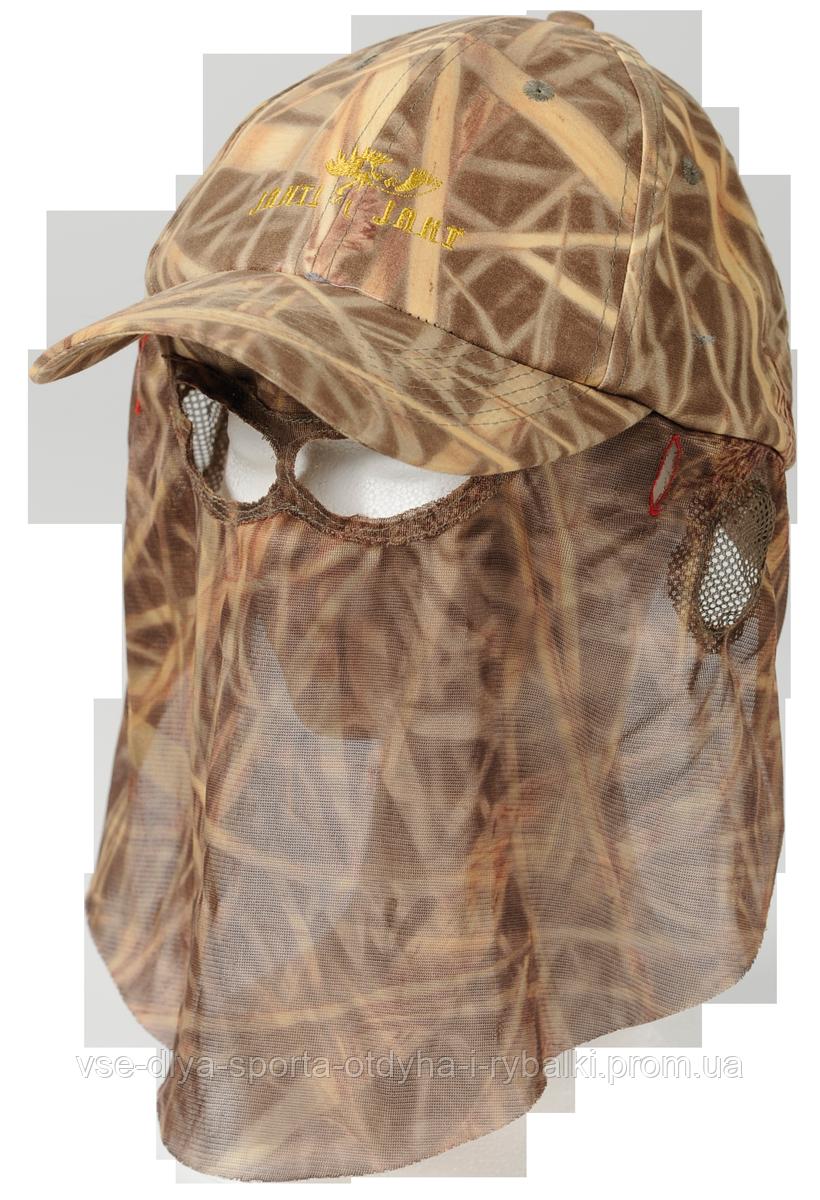 Камуфляжная кепка Jahti Jakt Forest Reed Camo с москитной сеткой