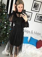 Женское платье из фатина с кружевом, в расцветках. АР-22-0218