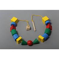 Детская деревянная шнуровка Бусы макси Komarovtoys (К 124)