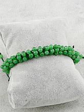 Браслет Агат 18 см. зеленый шарики