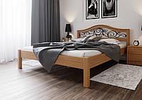 Кровать деревянная полуторная Италия с кованным изголовьем