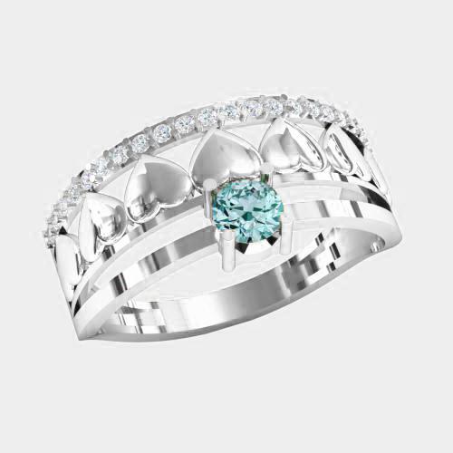 Кольцо  женское серебряное Сердечки КЕ-1518