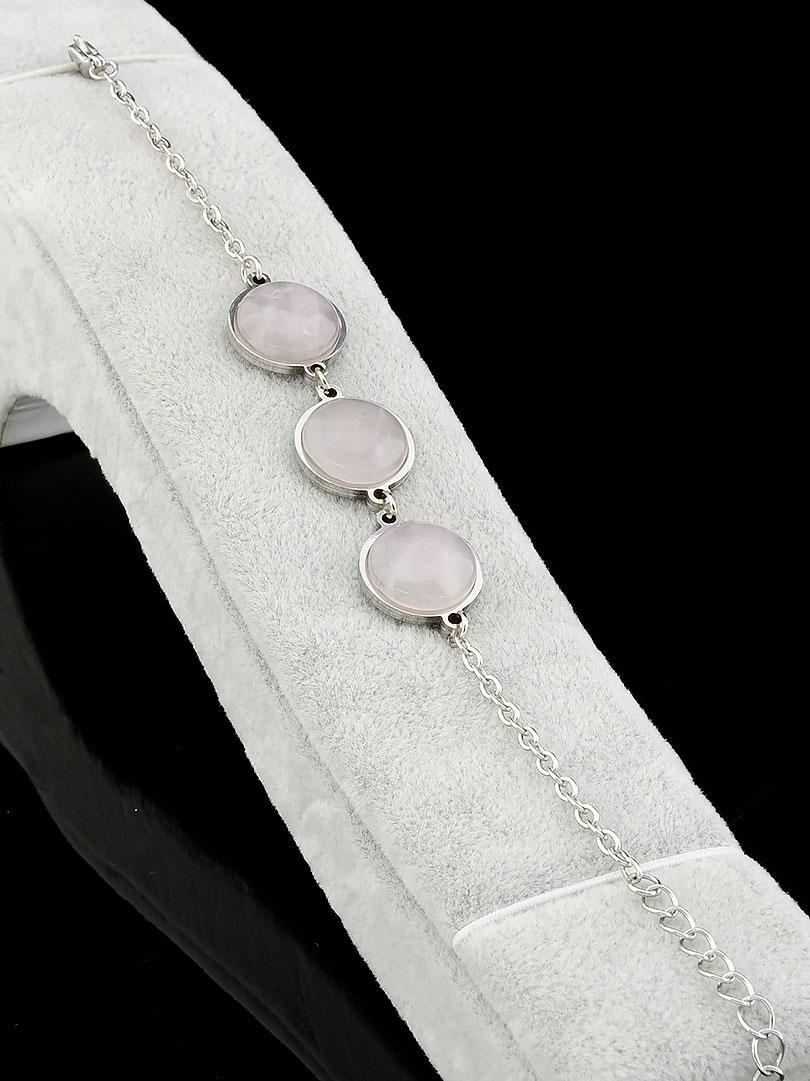 Браслет Розовый кварц натуральный 19 см.