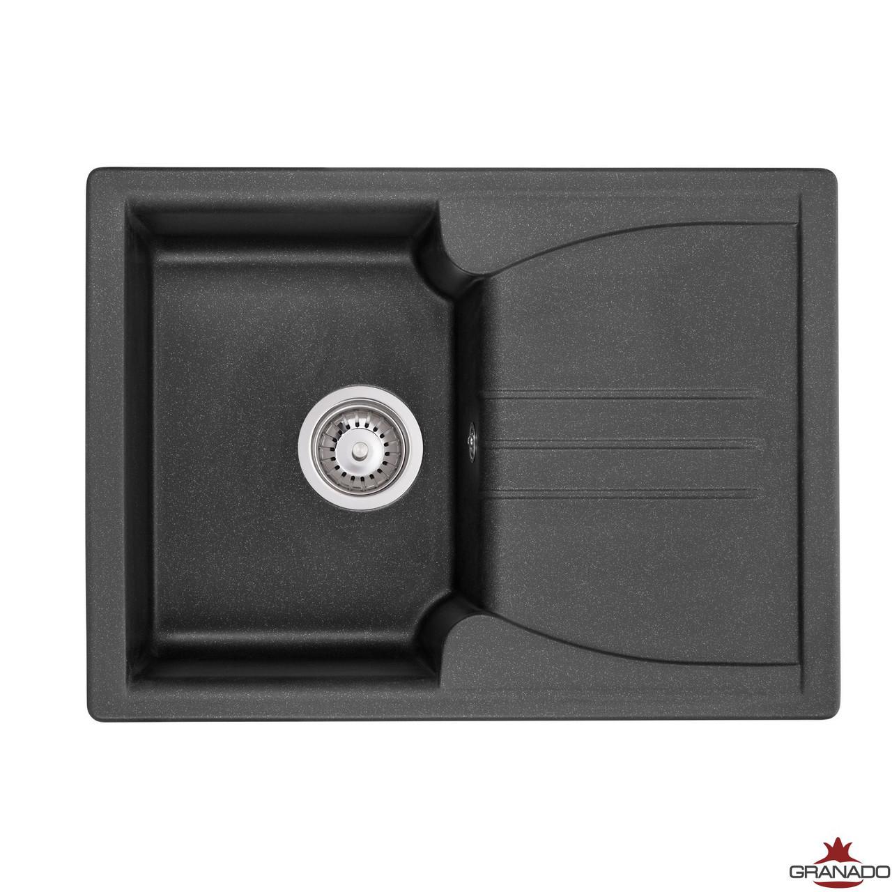 Кухонная мойка ГРАНИТ с евросифоном 68*50 см Granado Salamanka black shine 0601