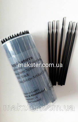 Микробраши (аппликаторы) UNIGLOVES черные(100 шт), фото 2