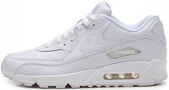 Nike Air Max 90 Leather White   кроссовки женские и мужские, белые, кожаные  - b5b0e5332af