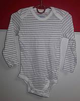 Боди длинный рукав белый полосатый Lupilu Pure collection разм.86/92