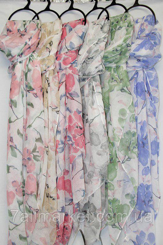 """Шарф-палантин женский яркий с цветами, размер 90*180 см (6 цветов) Серии """"AURA"""" купить оптом в Одессе на 7 км"""