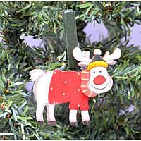 """Прищепка для праздничного декора """"Олень"""" KSN331, 8*9.5 см, дерево, Новогодние сувениры, Украшения новогодние, Игрушки на елку"""