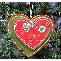 """Большая подвеска на елку """"Сердце двойное"""" KSN302, 10.5*11.5*1.2 см, МДФ, Новогодние сувениры, Украшения новогодние, Игрушки на елку"""