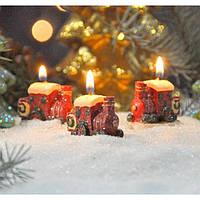 """Свеча для праздничного интерьера """"Паравозики"""" N7125, 4.5*4 см, из 6 шт, Свеча-фигурка, Свечки для Нового Года, Праздничные свечи, фото 1"""