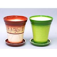 """Вазон керамический для цветов """"Факел №3"""" VS/F3, размер 16х18х9 см, 5 видов, вазон для комнатных растений, горшок для растений"""