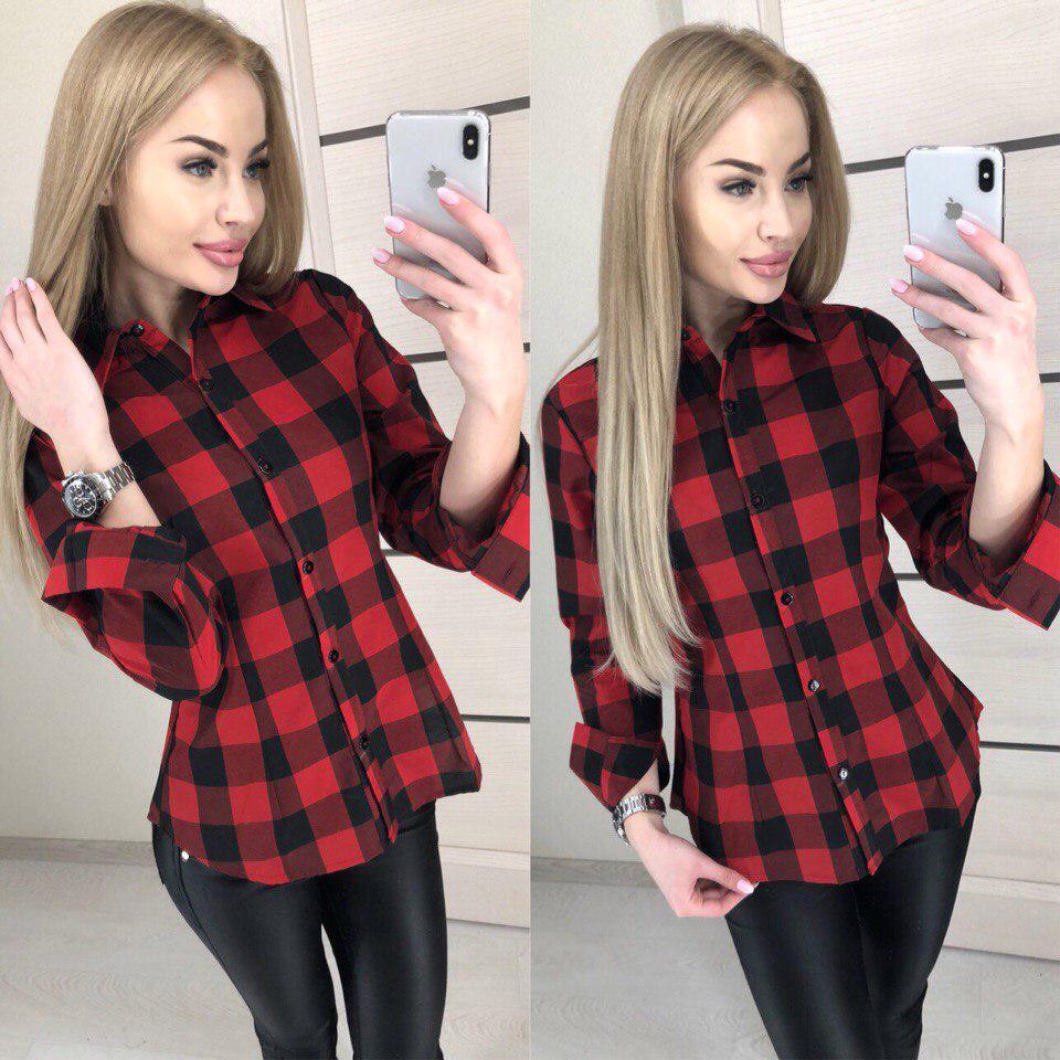 Женская черно-белая рубашка в клетку 401390