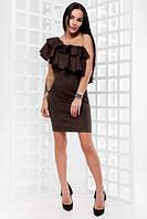 Замшевое платье с открытым плечом и воланом 14031067
