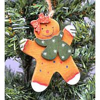 """Подвеска на елку """"Снеговик с бантиком"""" KSN344, 8*10.7 см, дерево, Новогодние сувениры, Украшения новогодние, Игрушки на елку"""