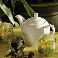 """Свеча декоративная для дома """"Зеленый чай"""" S780, в стакане, диаметр 70 мм, высота 70 мм, парафин / стеорин, ароматизированная, в коробке, арома свеча"""