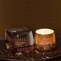 """Свеча праздничная для дома """"Coffee Spices"""" S3783, в стакане, размер 70х70 мм, подарочный набор свечей, свечи для интерьера"""
