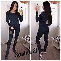 Женский черный костюм для фитнеса с сеткой 705230, фото 1
